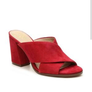 VINCE CAMUTO RED SUEDE MULES SIZE 6